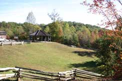 Overlooking parking lot and interpretive pavilion
